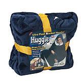 Двостороння толстовка (плед) - халат з капюшоном Huggle Hoodie синя плед з рукавами плюшева кофта, фото 8