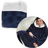 Двостороння толстовка (плед) - халат з капюшоном Huggle Hoodie синя плед з рукавами плюшева кофта, фото 10