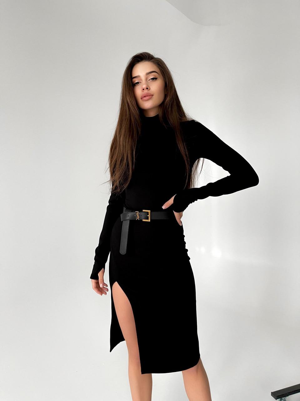 Платье гольф черное с разрезом на ноге повседневное длиной миди (р. S-XL) 50py2083