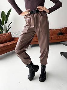Женские брюки из экокожи с накладными карманами и поясом посадка средняя (р.S, M) 34bu579