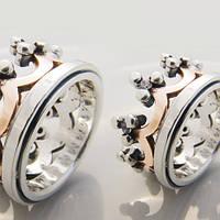 """Пара обручальных колец """"Корона"""" из серебра и золота от WickerRing"""