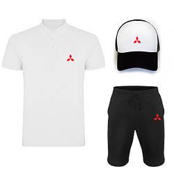 Мужской костюм тройка кепка поло и шорты Митсубиси (Mitsubishi), летний мужской костюм, копия