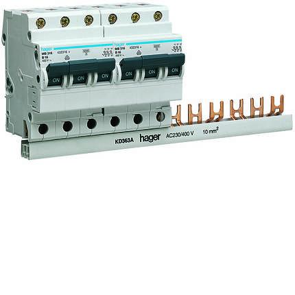 Шина соединительная вилочная 3-полюса на 12 модулей с изоляцией 10мм2, hager, фото 2