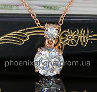 Стильный кулон с кристаллами Swarovski + цепочка, покрытые золотом  (300460)
