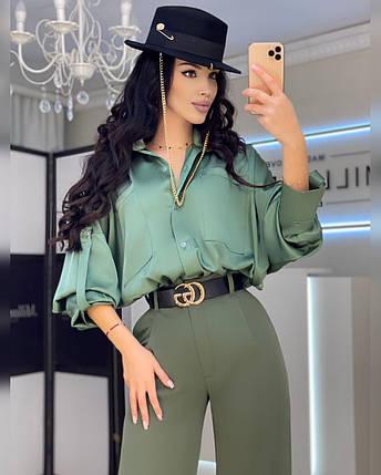Жіноча сорочка з об'ємним рукавом з шовку 42-44 р, фото 2