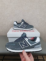 Серые кроссовки в замше на весну Нью Беланс 574. New Balance 574 Grey White женские кроссовки повседневные