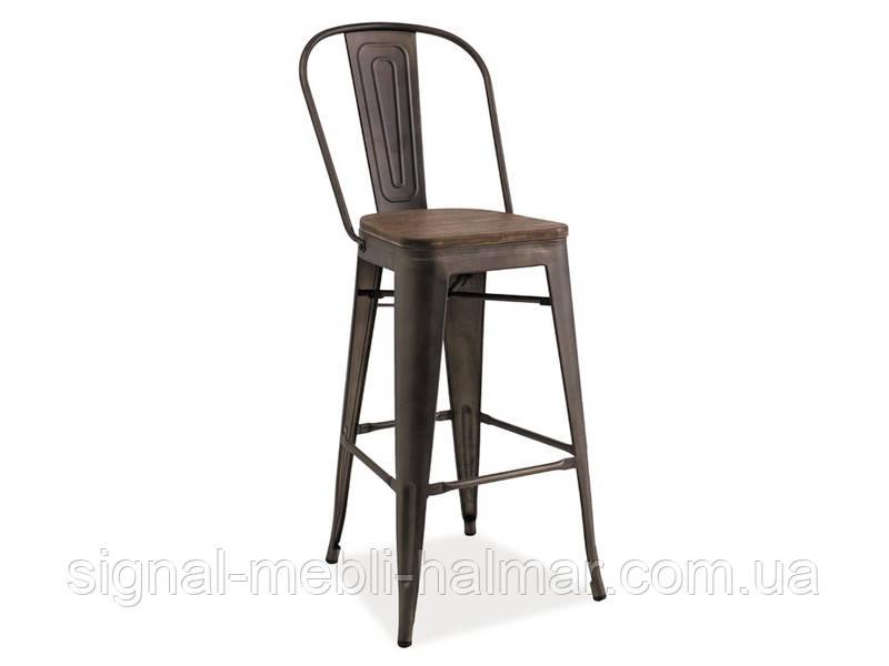 Барний стілець LOFT H-1Темный горіх /графіт(Signal)