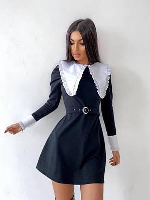 Черное платье приталенное с белым воротником и белыми манжетами (р. 42, 44) 66ty2079Е