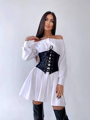 Платье - рубашка с открытыми плечами и кожаным корсетом на талии (р. 42, 44) 66ty2080Е