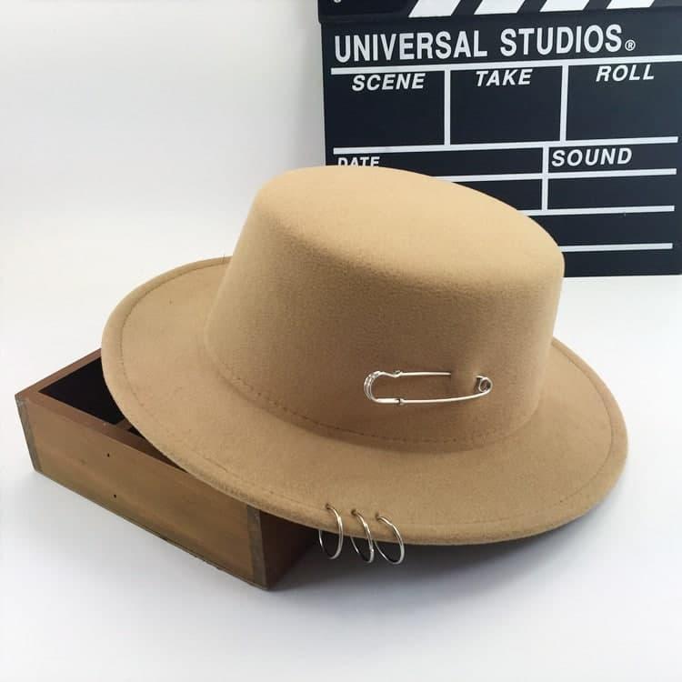 Женская шляпа фетровая с прямыми полями и плоским верхом (2 цвета) 83sl319
