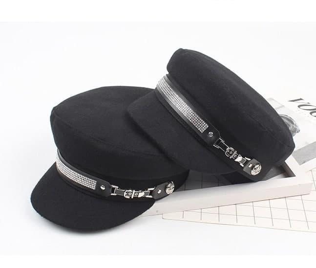 Фетровий кепка жіноча тепла з камінням над козирком 8307321
