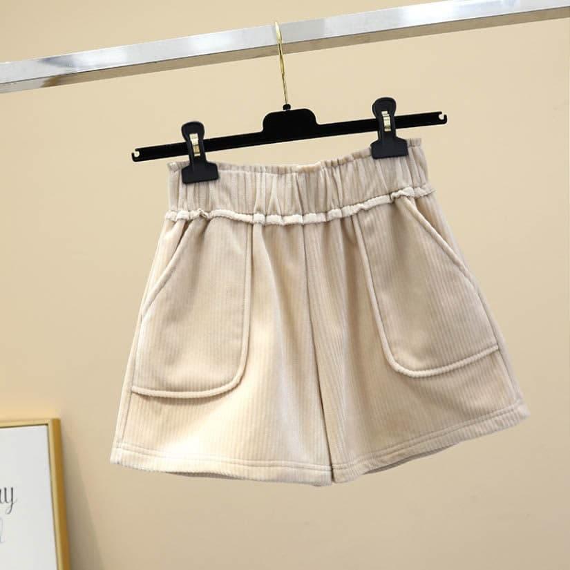 Женские вельветовые шорты на резинке с карманами (р.42-44) 83qa40