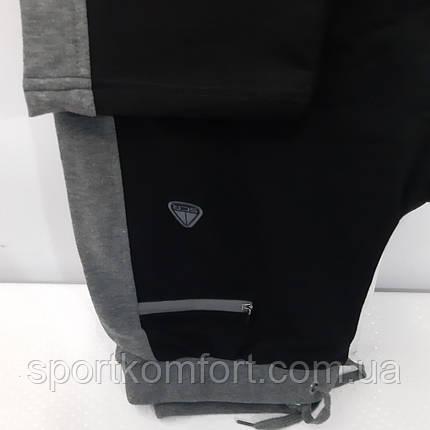 Турецкие спортивные трикотажные брюки Soccer чёрные серый лампас прямые 70 хлопок, фото 2