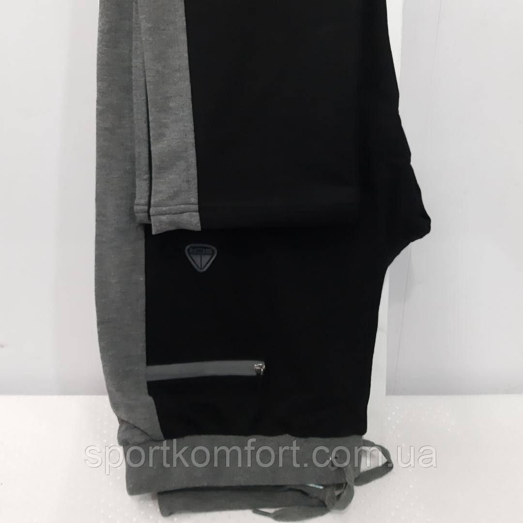 Турецкие спортивные трикотажные брюки Soccer чёрные серый лампас прямые 70 хлопок