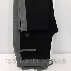 Турецькі спортивні трикотажні штани Soccer чорні сірий лампас прямі 70 бавовна