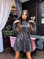 Платье - гольф из пайетки с расклешенной юбкой солнце и длинным рукавом (р.42, 44) 66mpl1921ЕR