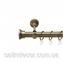 Карниз для штор металлический ДУО однорядный 25мм 1.6м Античное золото