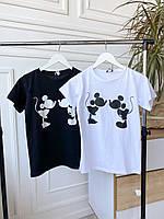 Футболка женская Mickey 0204 (42-44; 46-48) (цвета: черный, белый) СП, фото 1