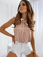 Стильная летняя женская блузка в горошек: 42-44, 46-48, 50-52, 54-56. Цвет: пудра, белый, черный, ментол, беж