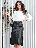 Женская юбка миди из эко кожи 149 (42-44, 44-46, 48-50, 52-54) (цвета: черный, бордо) СП, фото 1