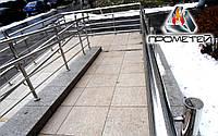 Ограждения пандуса из нержавеющей стали AISI 304, поручень Ø38 мм, стойка Ø38 мм, 3 ригеля Ø16 мм, Сарны, фото 1