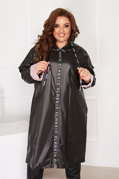 Жіноча чорна довга куртка з капюшоном батал