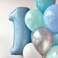Цифра Голубая с гелием до 100 см (от 0 до 9) (поштучно) Испания