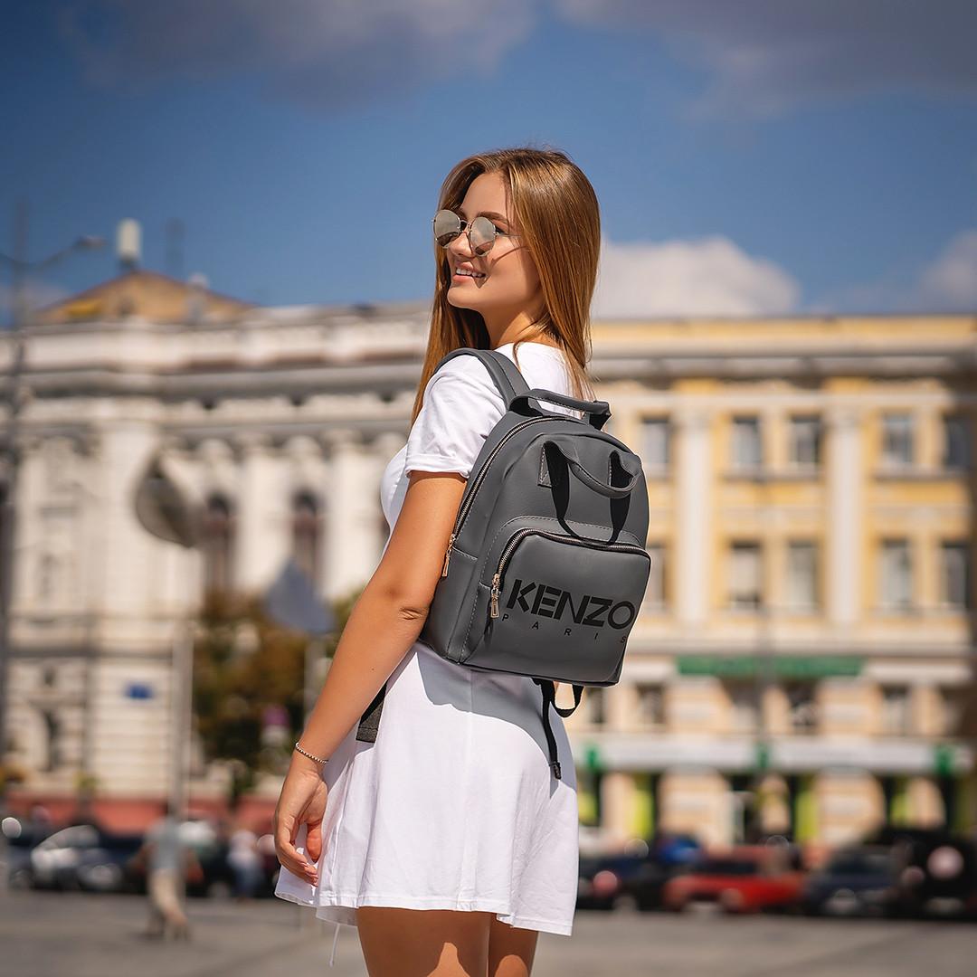 Стильный женский рюкзак KENZO с эко-кожи, модный городской рюкзачок для девушек, цвет серый