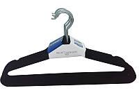 Металлические плечики-вешалки  чёрные 45см с бархатным покрытием с перекладиной