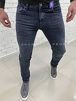 Мужские синие джинсы приуженные к низу Shark
