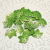 Пайетки Листочки кленовые зеленые, 2 см