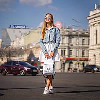 Стильный женский рюкзак Calvin Klein с эко-кожи, модный городской рюкзачок для девушек, цвет белый