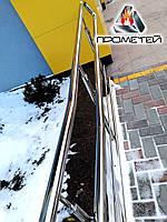 Ограждения пандуса из нержавеющей стали AISI 304, поручень Ø38 мм, стойка Ø32 мм, 3 ригеля Ø16 мм, Снигирёвка, фото 1