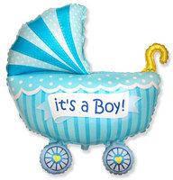 Фольгированный шар Коляска для мальчика