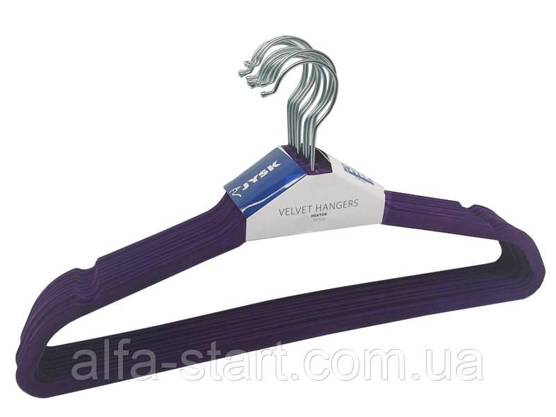 Металеві плічка-вішалки фіолетові 45см з оксамитовим покриттям з поперечиною