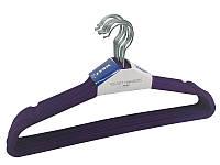 Металлические плечики-вешалки фиолетовые 45см с бархатным покрытием с перекладиной, фото 1