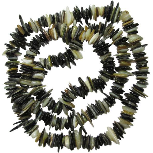Сколы Ракушки Светло Черно-Белого цвета с Перламутром, Размер 4-8*1-3 мм, Около 80 см нить, Бусины