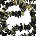 Сколы Ракушки Светло Черно-Белого цвета с Перламутром, Размер 4-8*1-3 мм, Около 80 см нить, Бусины, фото 2