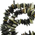 Сколы Ракушки Светло Черно-Белого цвета с Перламутром, Размер 4-8*1-3 мм, Около 80 см нить, Бусины, фото 3
