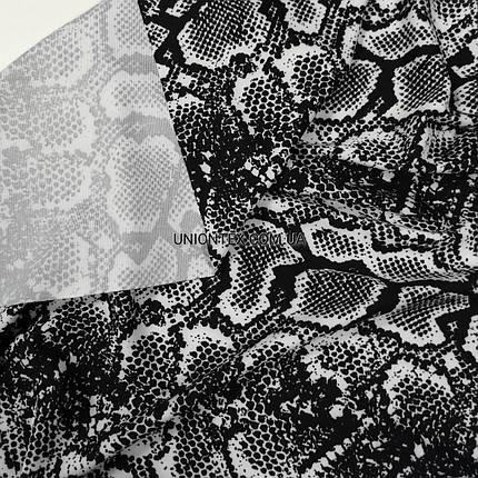 Трикотаж микродайвинг принт змея черный, фото 2