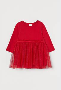 Платье трикотажное с фатином красное H&M р.86см (12-18мес)