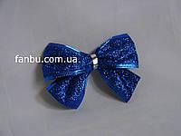 Новогодний  синий бант с глитером и проволочным краем(размер 10*8см)
