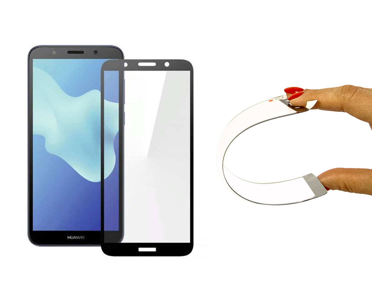 Защитное 5D cтекло Nano Flexible GLASS ITOP для Huawei Y5 2018 Full Cover Черный