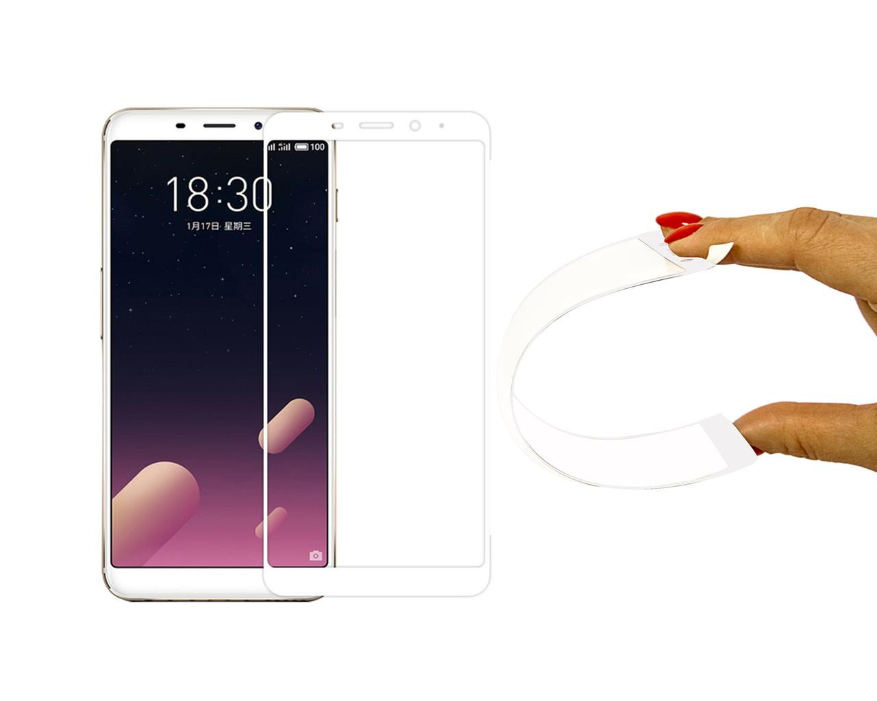 Защитное 5D cтекло Nano Flexible GLASS ITOP для Meizu M6s Full Cover Белый