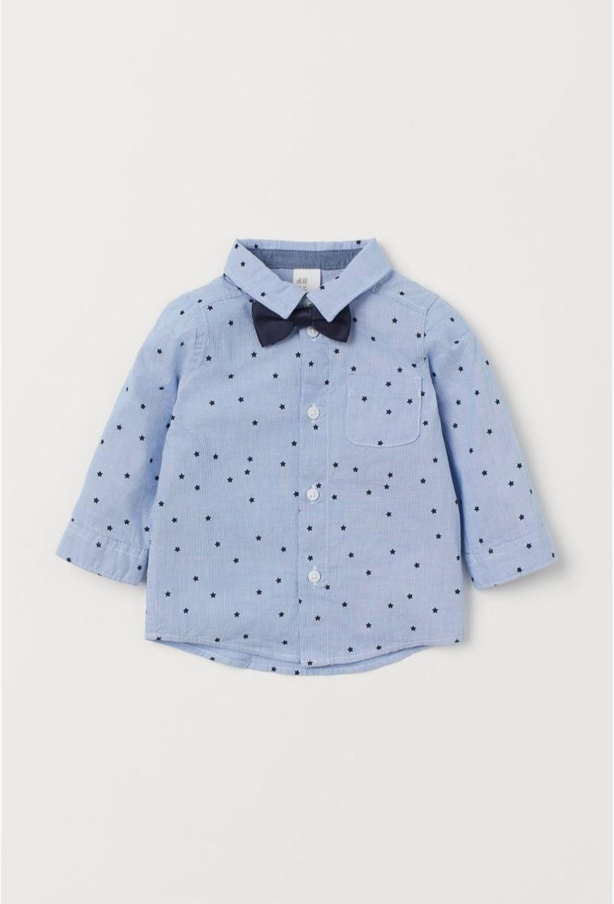Рубашка детская голубая в звезды с бабочкой H&M р. 86см