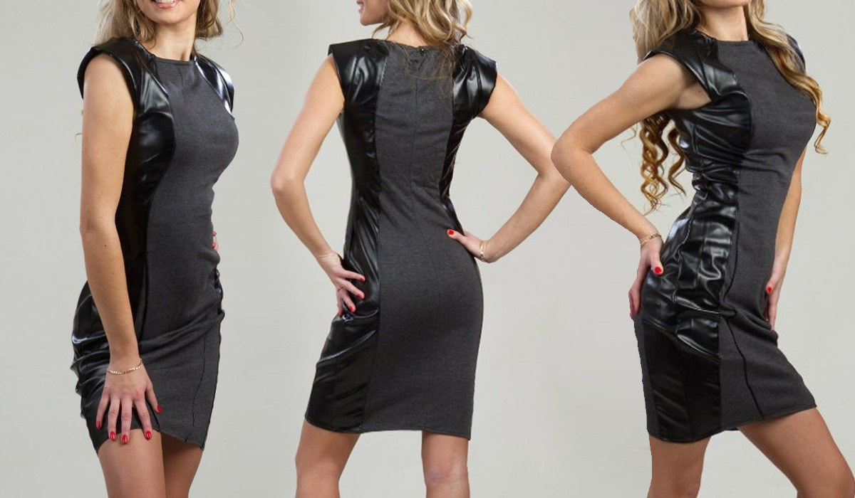 3ae7ca0fe0c Стильное платье - футляр с кожаными вставками - Интернет магазин одежды  EuroFashion в Киеве