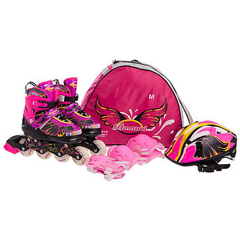 Роликовые коньки раздвижные в наборе защита, шлем, сумка JINGFENG (колесо-PU, р-р 31-38, цвета в ассортименте)