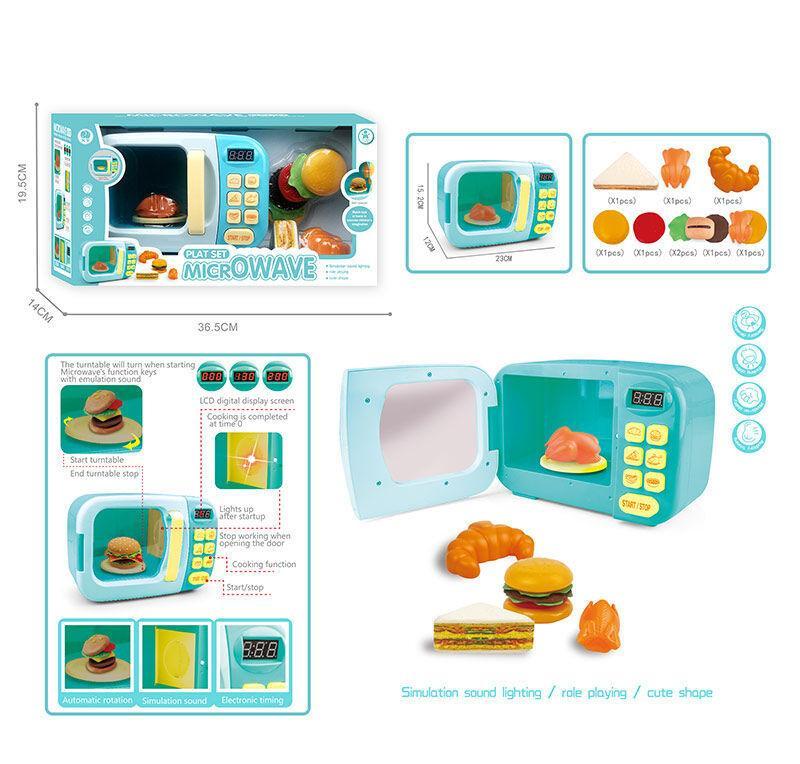 """Микроволновка """"Microwave"""" голубая свет, звук, продукты, LED дисплей, в коробке  AZ 128"""
