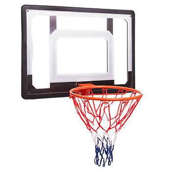 Щит баскетбольный с кольцом и сеткой (щит-PC,р-р 80x58см, кольцо (16мм) d-38см, сетка NY)