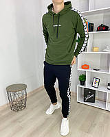 Спортивный костюм мужской Adidas lampas весенний осенний черный-хаки | Худи + Штаны Адидас с лампасами ЛЮКС, фото 1